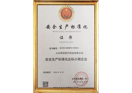 德菲医疗通过安全生产标准化审核,并得到证书